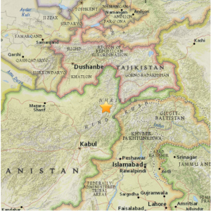 Location of Afghanistan Earthquake. Map courtesy of the U.S. Geological Survey