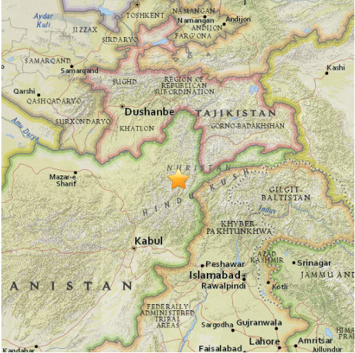 location of afghanistan earthquake map courtesy of the u s geological survey